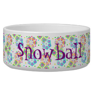 Festive Snowflakes - Customisable Pet Food Bowl