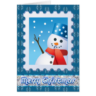 Festive Snowman Silver Snowflakes Greeting Cards