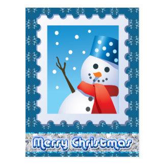 Festive Snowman Silver Snowflakes Postcard