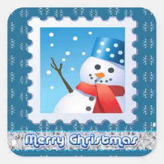 Festive Snowman Silver Snowflakes Square Stickers