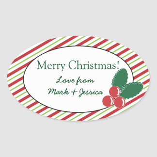 Festive Stripes and Holly Oval Sticker
