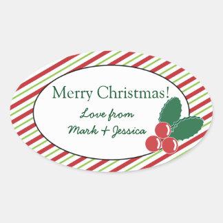 Festive Stripes and Holly Oval Sticker
