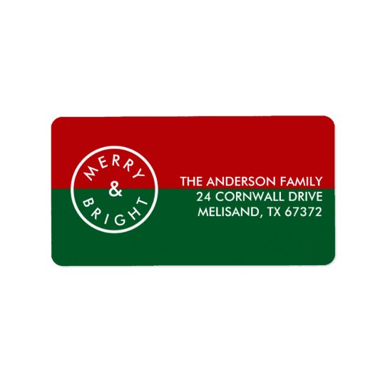 Festive Stylish Seal Red Green Holiday Label