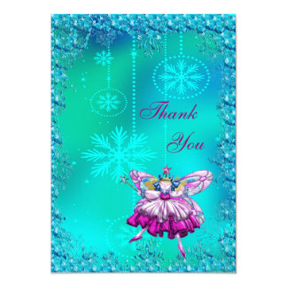 Festive Sugar Plum Fairy Thank You 13 Cm X 18 Cm Invitation Card