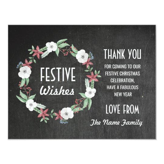 Festive Thank you Holidays Cards Merry Christmas