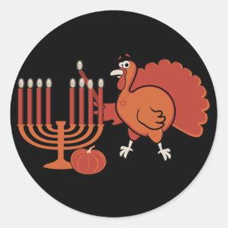 Festive 'Thanksgivukkah' Classic Round Sticker