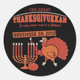 Festive 'Thanksgivukkah' Round Sticker