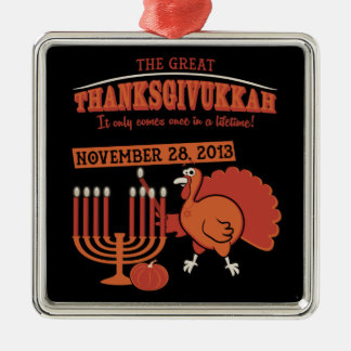 Festive 'Thanksgivukkah' Silver-Colored Square Decoration