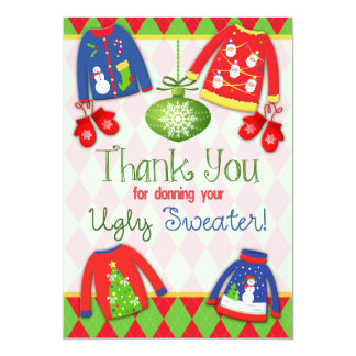 Festive Ugly Christmas Sweater Party Thank You 13 Cm X 18 Cm Invitation Card