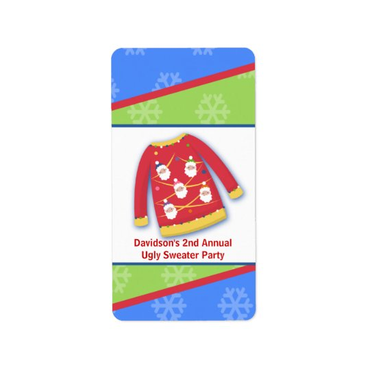 Festive Ugly Sweater Party Miniature Label Sticker Address Label