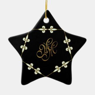 Festive Victorian Monogram Art Nouveau Star Christmas Ornament