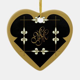 Festive Victorian Vintage Art Deco Monogram Heart Christmas Ornament