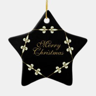 Festive Victorian Vintage Art Nouveau Star Christmas Ornament