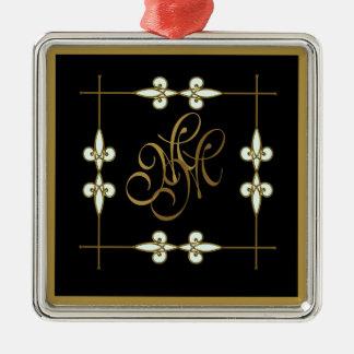 Festive Victorian Vintage Floral Art Deco Monogram Christmas Ornament