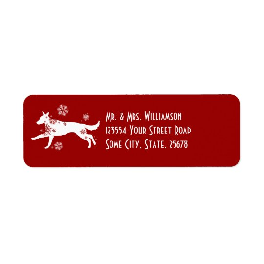 Festive White and Red Snow Dog Return Address Return Address Label