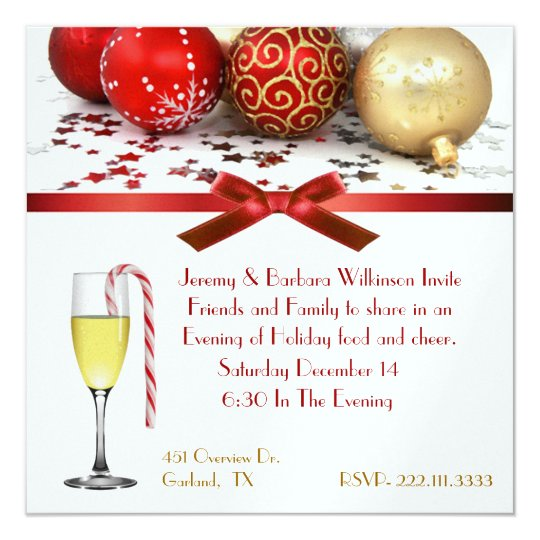 Festive Wine Glass Christmas Party Invitation