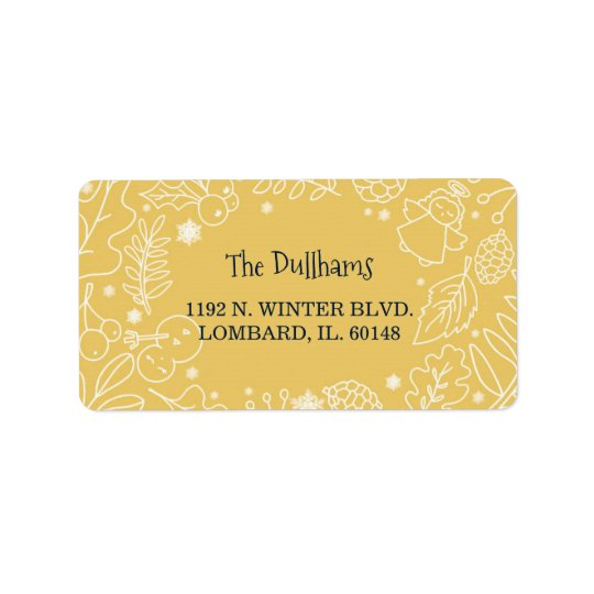 Festive Winter Botanicals Holiday Address Label