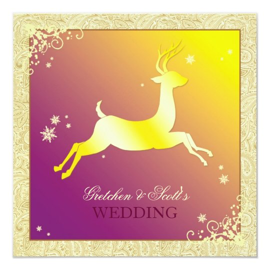 Festive Winter Reindeer December Wedding Card