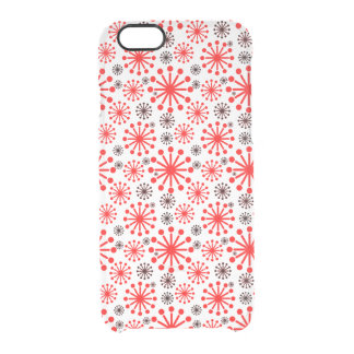 * Festive Winter Snowflake Pattern – Red and White Clear iPhone 6/6S Case