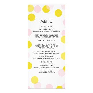 Festive Yellow and Pink Confetti Dots Menu Card