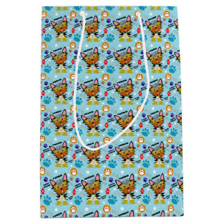Festive Yorkshire Terrier Cartoon Medium Gift Bag