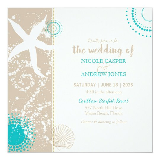 Festively Chic Beach Wedding Invitation