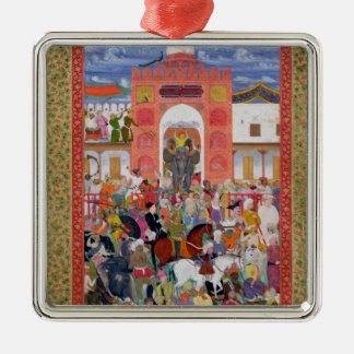 Festivities on the Occasion Silver-Colored Square Decoration