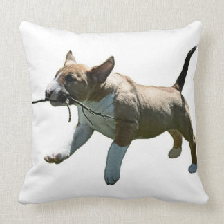 Fetching Bull Terrier Throw Pillow
