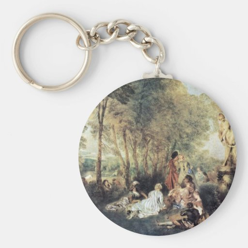 Fêtes Galantes By Watteau Antoine Keychain