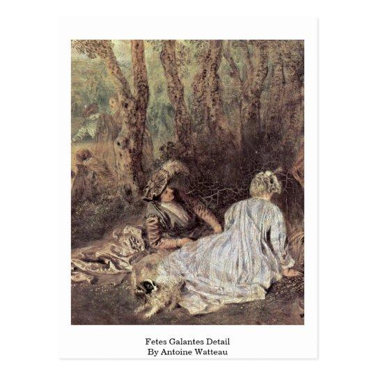 Fetes Galantes Detail By Antoine Watteau Postcard