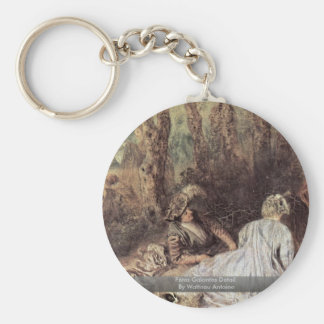 Fêtes Galantes Detail By Watteau Antoine Keychains