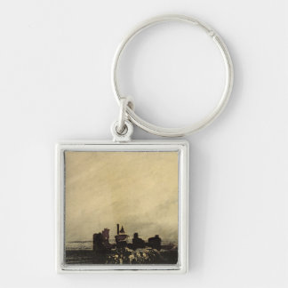 Feudal Ruins Silver-Colored Square Key Ring