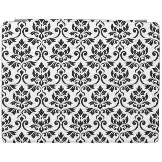 Feuille Damask (H) Pattern Black on White iPad Cover