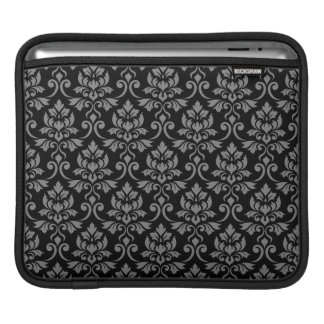 Feuille Damask Pattern Gray on Black iPad Sleeve