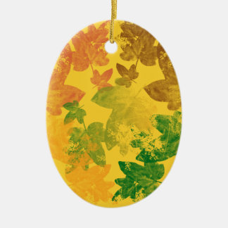 feuilles d'automne Double-Sided oval ceramic christmas ornament