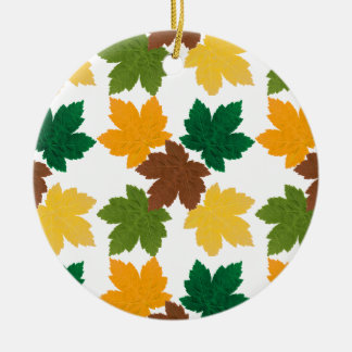feuilles d'automne patterns Double-Sided ceramic round christmas ornament