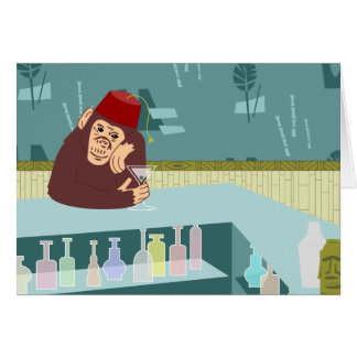 Fez Monkey Martini Bar Greeting Card