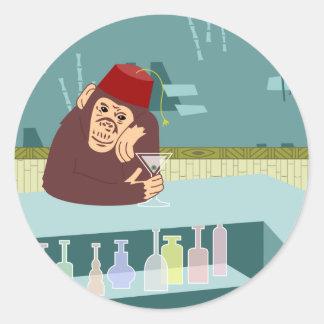 Fez Monkey Martini Bar Round Sticker