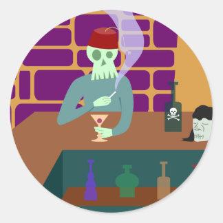 Fez Skull Martini Bar Round Sticker