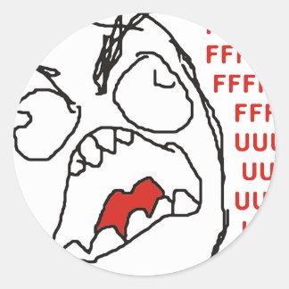 FFFFFFFUUUUUU - Rage! Round Sticker