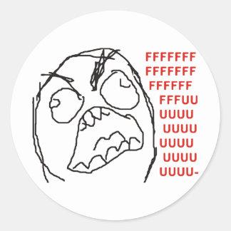 FFFFFFFUUUUUU - Rage! Round Stickers