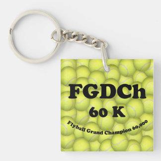 FGDCh 60K, Flyball Master Champ Acrylic Sq Keychai Single-Sided Square Acrylic Key Ring