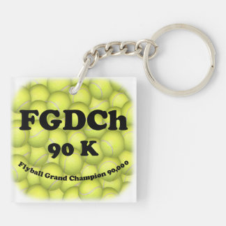 FGDCh 90 K, Flyball Grand Champ, 90,000 Points Double-Sided Square Acrylic Key Ring