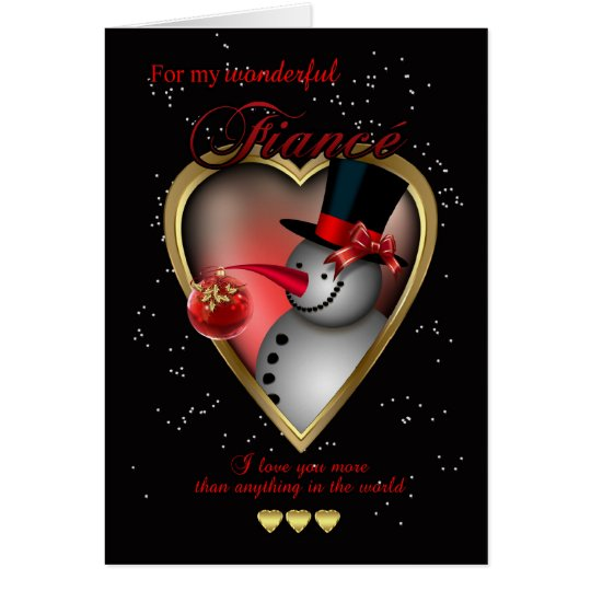 Fiance Christmas Card - Snowman In Heart