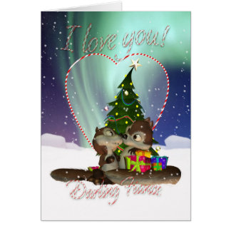 Fiance I Love You Christmas Card With Loving Squir