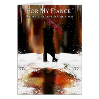 Fiance Stylish Christmas Holiday Card With Couple