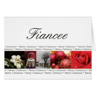 Fiancee Christmas red, black & white Winter Greeting Card