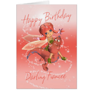Fiancee Cute Birthday card, pink dragon with fairy Greeting Card