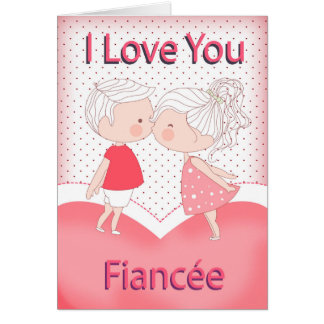 Fiancee, Cute Kissing Couple Valentine With Heart Greeting Card