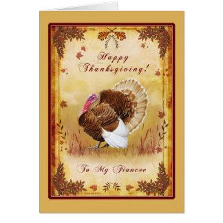 Fiancee Happy Thanksgiving Turkey Card